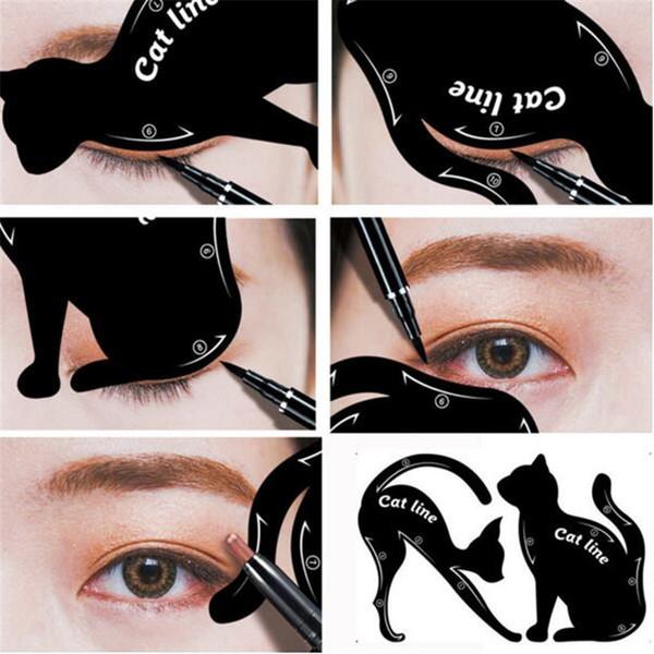 Beauty Eyebrow Mold Stencils 2pcs Women Cat Line Pro Eye Makeup Set Tool Eyeliner Stencils Template Shaper Model For Women Girl