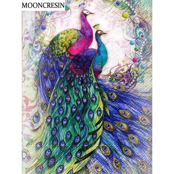 5D Diy Diamond Painting Peacock Animal Cross Stitch Kit Diamond Embroidery Full Square Resin Mosaic Picture Handcraft Home Decor