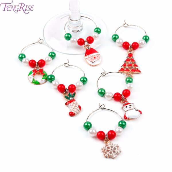 FENGRISE 6pcs Christmas Mixed Wine Glass Charm Christmas Decorations for Home Santa Claus Xmas Pendant Metal Ring New Year Decor