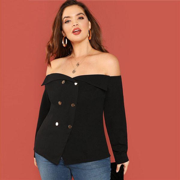 Women Tops Lace Blouses Black Sexy Off The Shoulder Long Sleeve Plus Size Lace Women Blouse Slim Fit Slash Neck Top Blouse