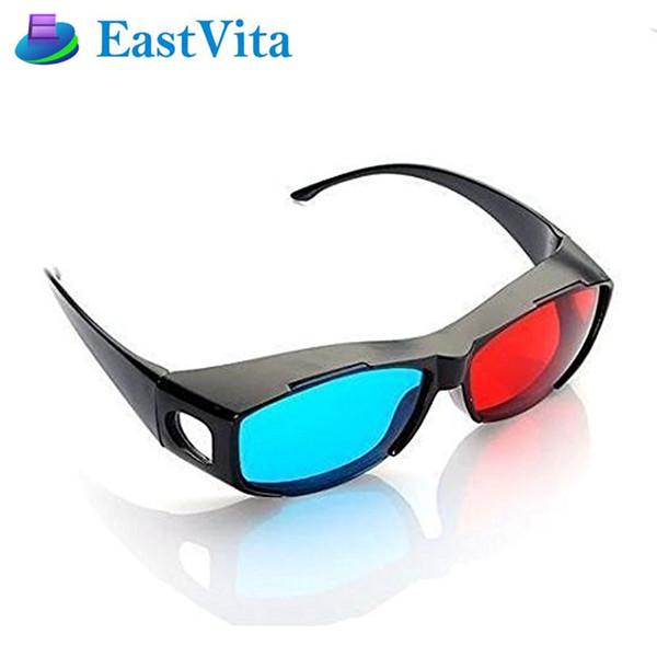 EastVita Kırmızı Mavi 3D Gözlük Anaglyph Çerçeveli Oyun Stereo Film için 3D Vizyon Gözlük Boyutlu Plastik