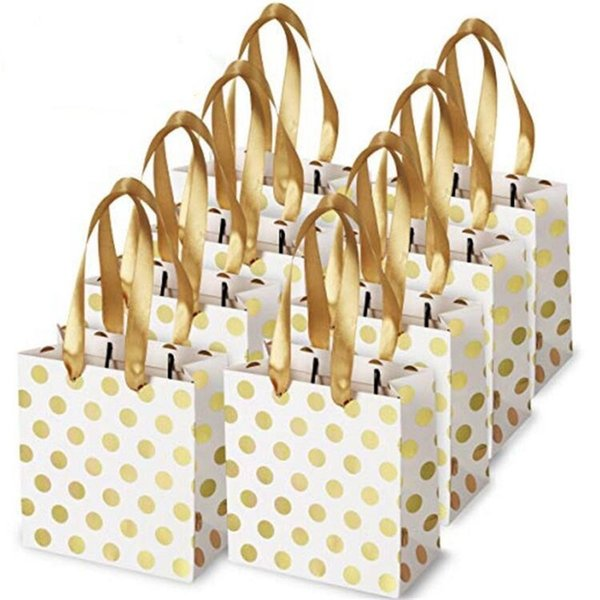 Gold and Silver Polka Dot Paper Bag Festival Party Gift Package Fashion Shopping Bags with Handle for Christmas Weddings Birthday Holiday