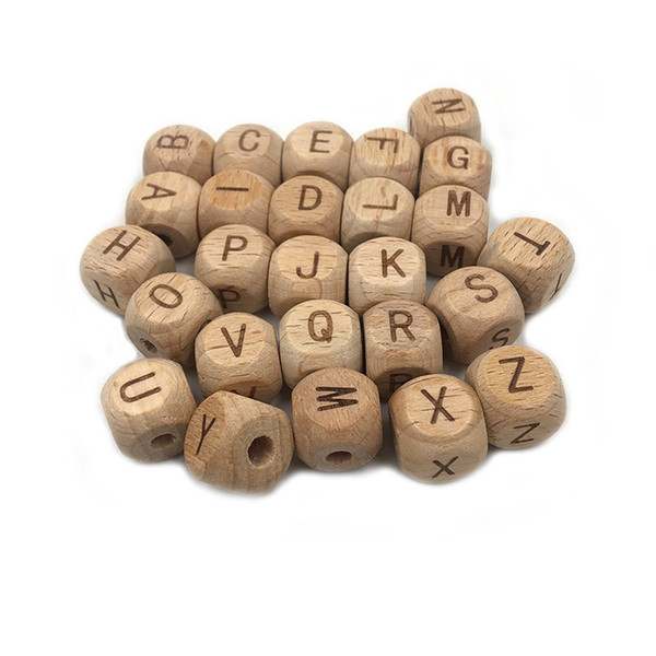 best selling 12mm Wood Alphabet Beads Beech Wooden Cube Letter A to Z Teething DIY Jewelry Alphabet Beads Baby Teether