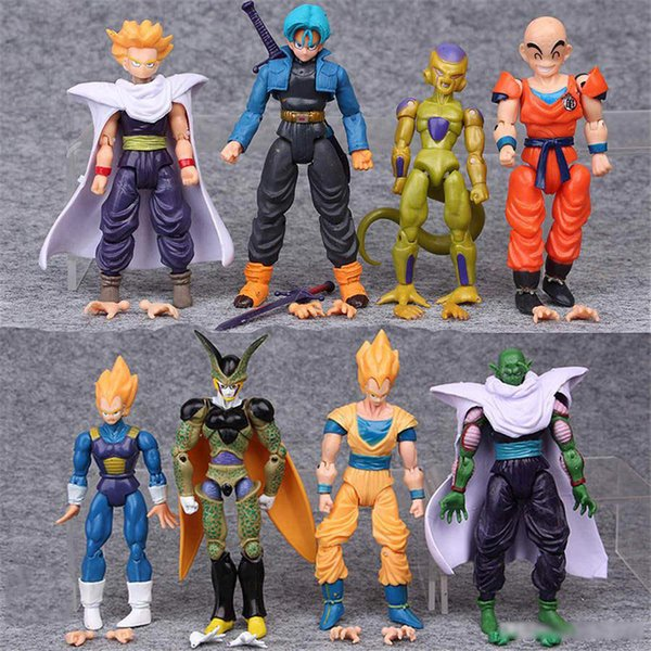 8 Style Dragonball Z Dragon Ball Anime 12cm Goku Vegeta Piccolo Gohan super saiyan Joint Movable Dragon ball Action Figure Toy Free DHL