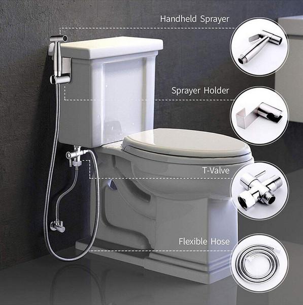 top popular High Quality Bathroom Hand Held Toilet Bidet Sprayer Douche Shattaf Shower Spray Stainless Steel Hose Holder Set Brushed Nickel Finish 2021