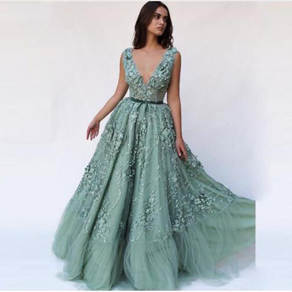 Compre Sexy Profundo Escote En V Ilusión Vestidos De Noche Bastante Verde Vestido De Fiesta Elegante Vestido De Fiesta Vestidos Formales Fiesta