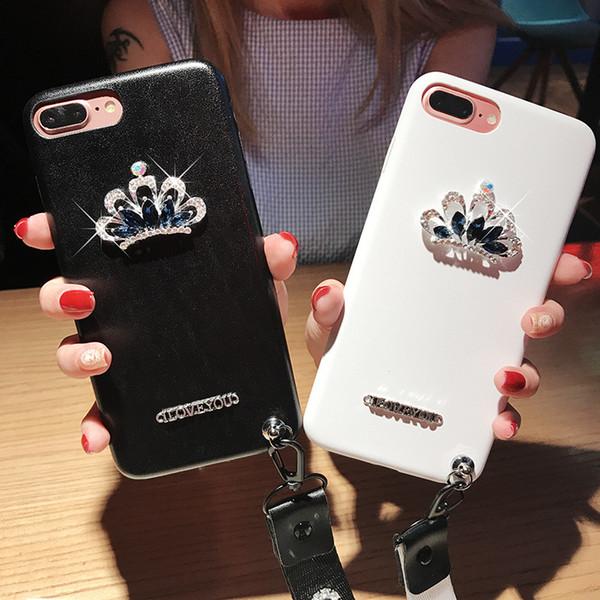 Wholesale Creative Crown Rhinestone Phone Case for IphoneX Iphoen9 7Plus/8Plus iphone case 7/8 6/6s Plus 6/6s Cool Back Cover