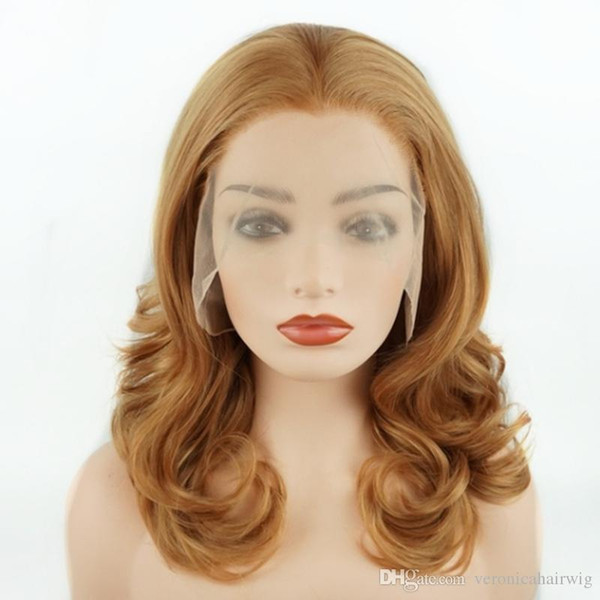 New 16inch Light Brown Short Wavy Wigs Heavy Density Half Hand Tied Heat Resistant Glueless Synthetic Lace Front Wigs for Women Middle Part