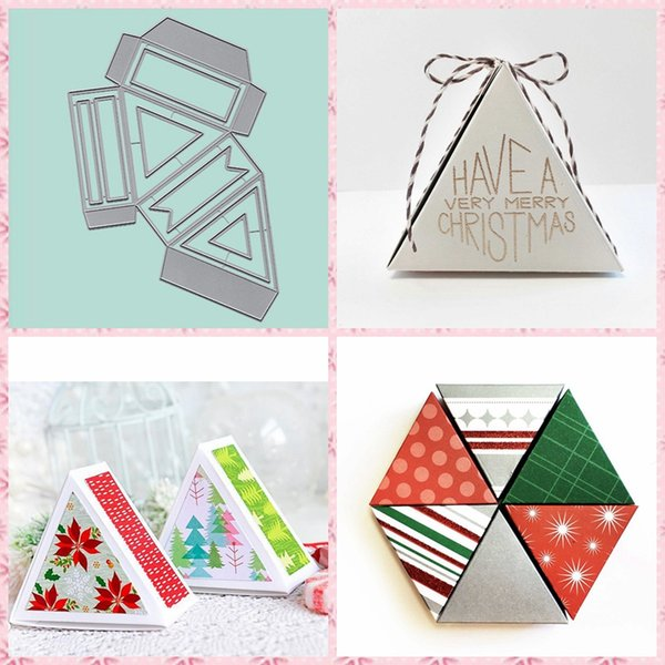 Gift Box Cards Metal Cutting Dies Silver Stencil For Scrapbooking Album Photo Paper Card Craft New Template Xmas