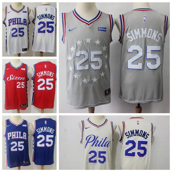 huge discount 32d79 66081 2018 2019 New Mens Philadelphia 76ers 25 Ben Simmons Basketball Jerseys  Stitched 76ers New City Edition Ben Simmons #25 Basketball Jerseys From ...