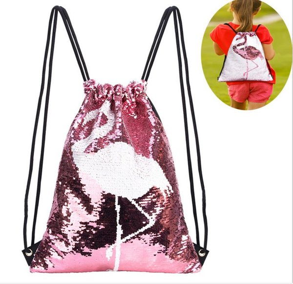 45x35cm 15sets New Positioning Embroidered Flamingo Backpack Shifting Sequins Sports Bundle Pocket Outdoor Drawstring Backpack Company Gift