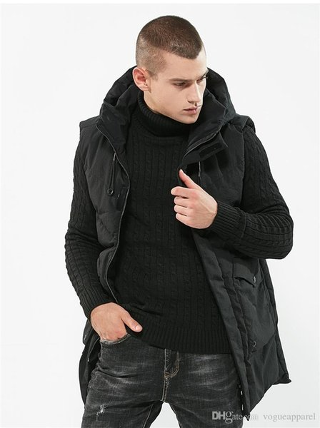 Mens Winter Clothing Long Length Thick Hooded Vest Sleeveless Cotton Warm Coat Black Fashion Leisure Outerwear