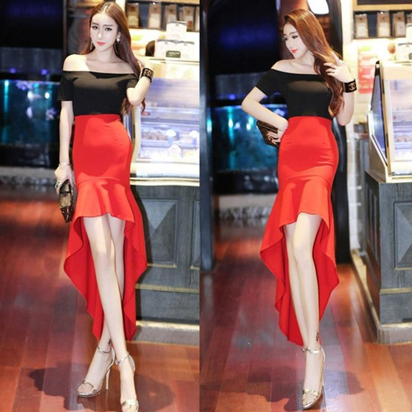 Summer Wear new Slash Neck off-shoulder slim hip swallow tail stitching sexy irregular dress Short sleeved long skirt A0094