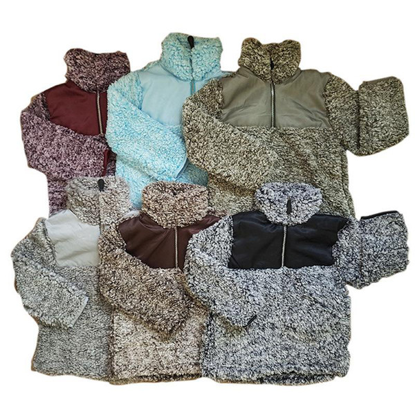 top popular Kids Sherpa Pullover Babys Hoodies Zipper Berber Fleece Sweatshirts Outwear Autumn Winter Jacket Patchwork Hoodie Sherpa Sweater LJJA2802 2020