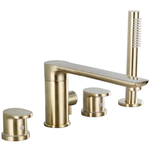 4 PCS Gold Plate Brass Bathroom Tub Faucet Europe Style Dual Handles Tub Spout W/ Hand Shower FC2660