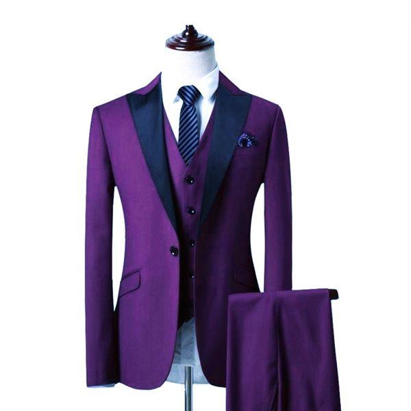 Custom Made Groomsmen roxo Noivo Smoking Black Peak lapela Homens vestidos de casamento melhor homem Noivo (jaqueta + calça + Vest) L230