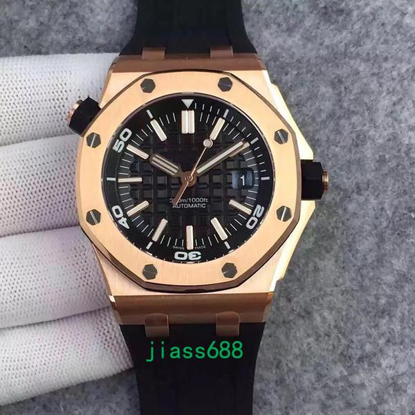 Heißer Verkauf Frei Begrenzte Royal Oak Offshore Taucher Automatische Mechanische Bewegung Uhren Gold Schwarz Uhr Gummi Gürtel 42mm V5 Herren Armbanduhr