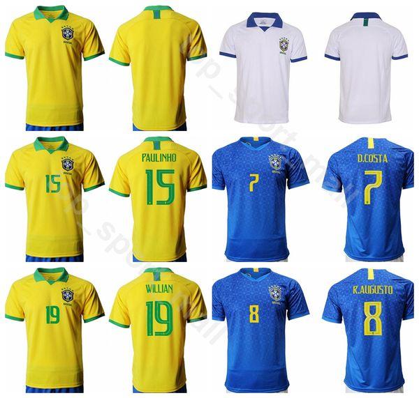 19 20 Brazil Jersey Soccer Men 20 FIRMINO 15 PAULINHO 7 COSTA 19 WILLIAN 8 AUGUSTO Football Shirt Kits Uniform Custom Name Number