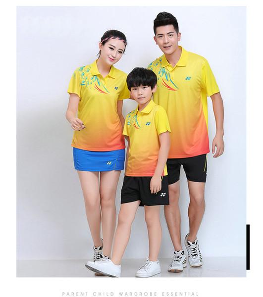 YO NEXX 7303 Schnelltrocknender, atmungsaktiver Badmintonanzug Kurzarm-T-Shirt mit Reverskragen Laufen Basketballbekleidung MenWomenKids YELLOW