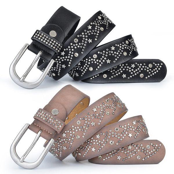Fashions Leisure Belts Luxury Shining Star Waistbands Womens Black Shorts Belts Ladies Leather Waist Straps Needle Buckle Girls Dress Belt