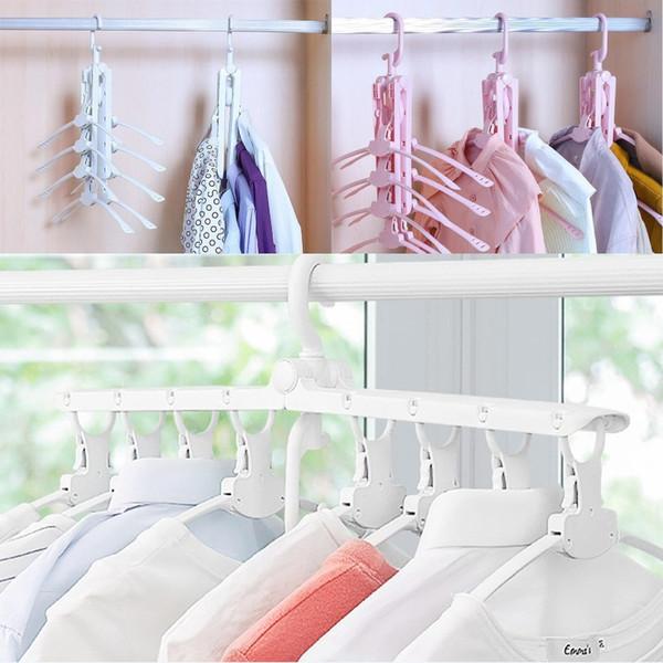 Foldable Clothes Rack Clothing Dryer Hangers Telescopic Magic Plastic Clothes Hanger 8 Fish Bones Storage Hanger Home Organizion