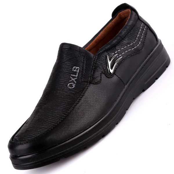 Men Casual Shoes Loafers Male Boat Shoes Fashion Leather Slip on Comfortable Men's Flat Black Leather Casual