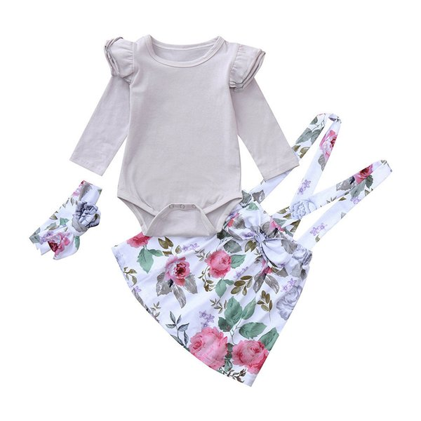 good quality Newborn Baby Girls Clothing 3PCs Long Romper+Flowers Paint Dress+Headband Set Clothes Outfit ropa recien nacido conjunto