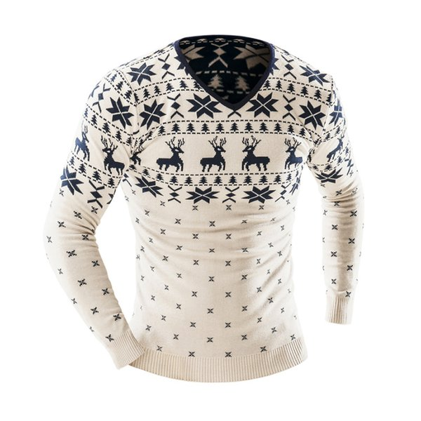 Sweater Men 2019 Brand Casual Deer Printing Sweater Male V-Neck Stitching Slim Fit Knitting Mens Sweaters Man Pullover Men