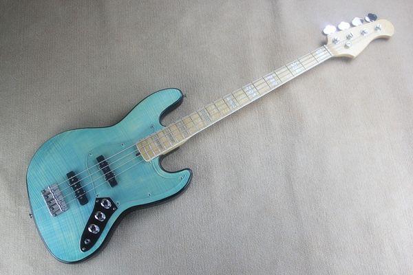 Tigri bass jazz a quattro corde basso elettrico a strisce blu trasparente