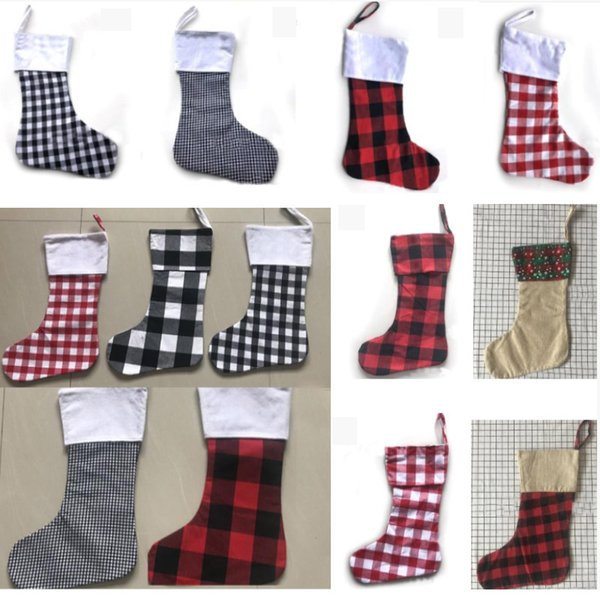 Christmas Decoration Plaid Stocking Gift Wrap Bag Christmas Tree Decoration Sock Personalize Kids Candy Gift Bags X-mas Stockings HH7-1839