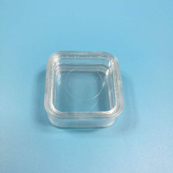 55*55mm Transparent PET Membrane Floating Display Case Earrings Diamond Gems Ring Jewelry Suspension Packaging Box W9140