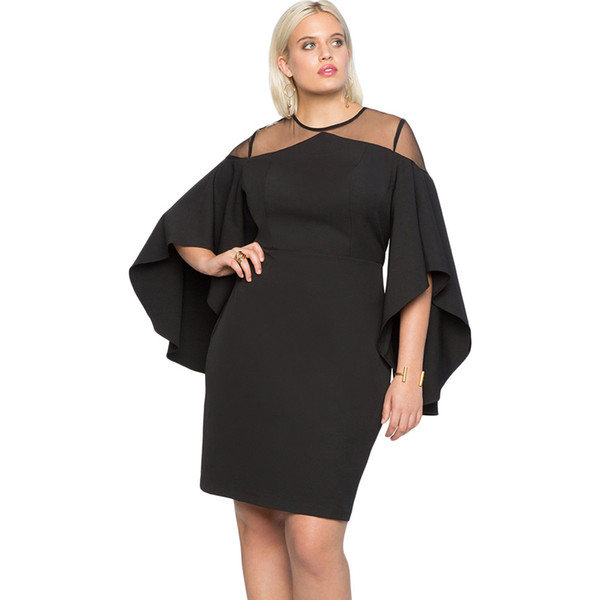 Party Black Red Mesh Illusion Cold Shoulder Bell Sleeve Plus Size Dress  Women Clothing Vestidos LC220395 Long Sleeve Short Dresses For Juniors Blue  ...