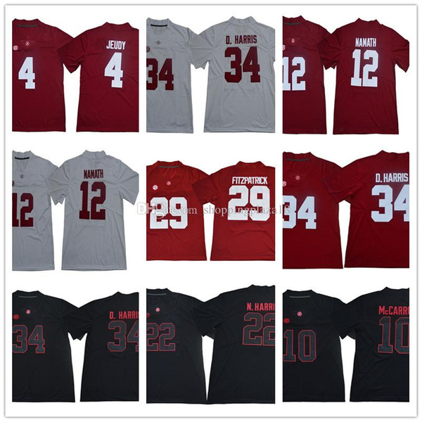 sports shoes 141cf 3bc30 2019 Alabama Crimson Tide 10 McCarron 12 Joe Namath 22 Mark Ingram 29  Fitzpatrick D.Harris NCAA Jersey Men College Football Jerseys Stitched Logo  From ...
