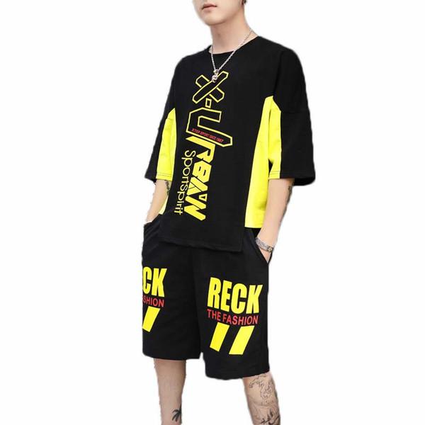 Erkek Eşofman Moda Rahat Spor Takım Elbise Gevşek Hip Hop Erkekler Bez Mektup Baskı T-Shirt Şort Asya Boyutu M-3XL Wholes