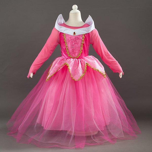 Cosplay Princess Dress Sleeping Aurora Party Costume Dress Up Fancy Diamond Dresses For Kids Girls Halloween Christmas Party HH7-232