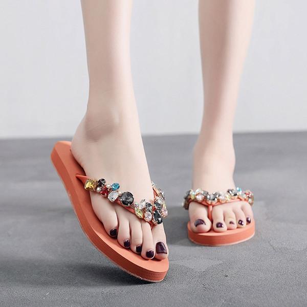 YOUYEDIAN 2019 Summer Flip Flops Bohemia Crystal Slippers Women Low Heel Flat Slides Beach Women Slippers Shoes
