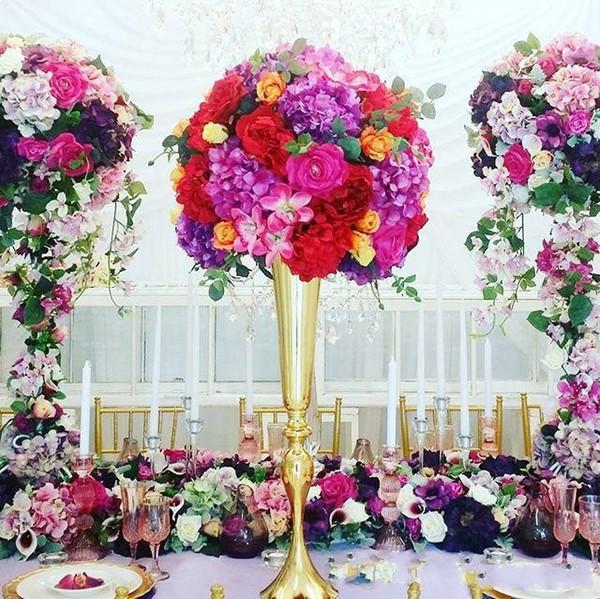 2019 peças centrais da mesa de casamento de ouro grande vaso de flores corredor do partido palco estrada levar flores de exibição hotel de casamento em casa rack de metal suporte de flor