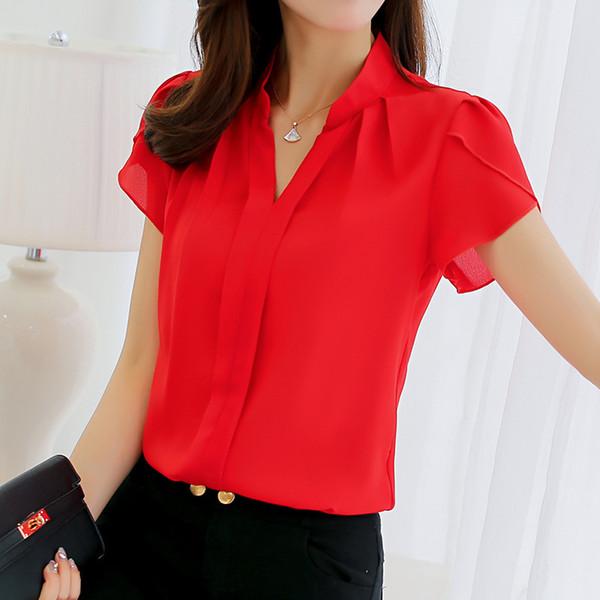 2019 sommer Frauen Chiffon Bluse Kurzarm Rot Damen Büro Damen Shirts Plus Größe Arbeit Top Plus Größe Casul Weibliche Kleidung