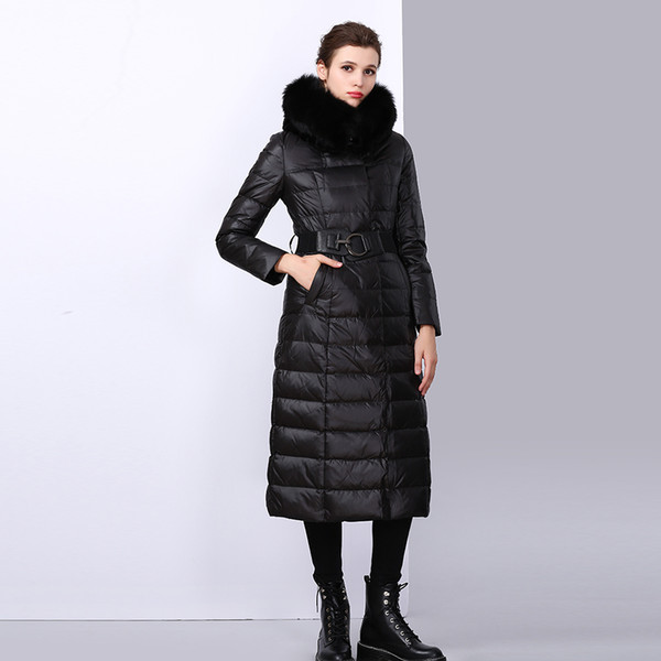 2018 winter new down jacket leather grass fox fur long section warm cotton clothing ladies street large fur collar jacket