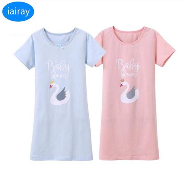 iairay 2 pz ragazze indumenti da notte in cotone vestito da notte per bambini bambini manica corta camicia da notte per bambini casual camicia da notte per bambini pigiama
