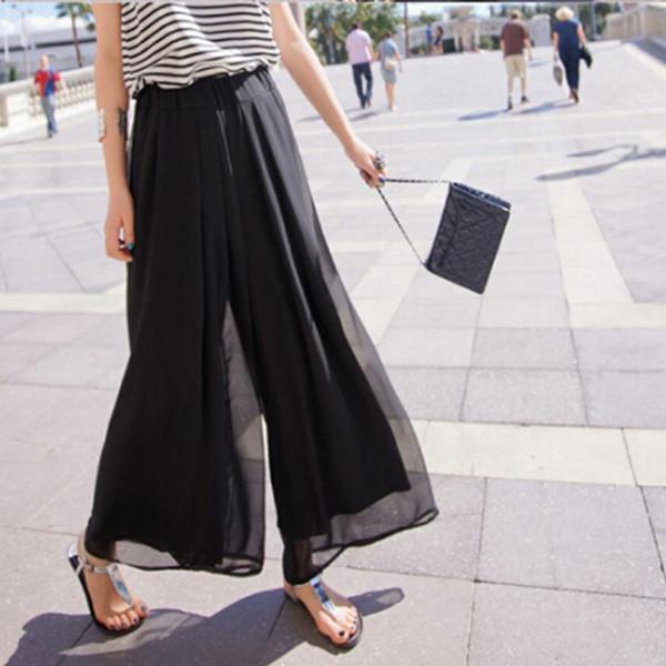 2018 New Fashion Lady Wide Leg Chiffon Pants High Waist Long Loose Palazzo Pants Culottes Trousers Women Summer Pants Pantalones