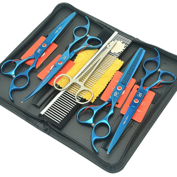 """Meisha 7.0"""" Dogs Hair Clipper Set Professional Animal Up Down Curved Cutting Scissors Puppy Grooming Shears Forceps Kits HB0229"""