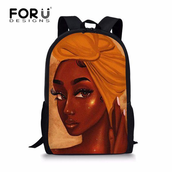 Forudesigns Black Art African Girl Print School Bags For Teenagers School Backpack Children Large School Backpack Kids Book Bags J190521