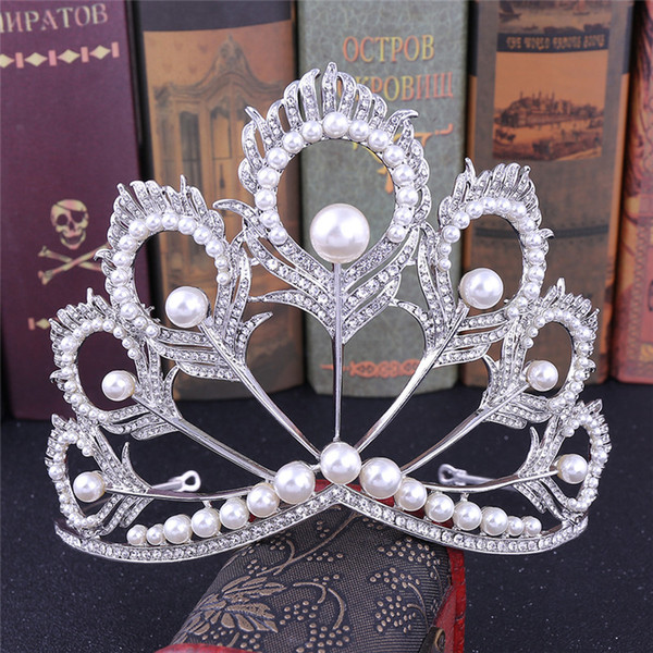 Creative Peacock Feathers Crown Pearls Full Round Tiara Beauty Queen Crown Big for Pageant Women Jewelry Hair Accessories