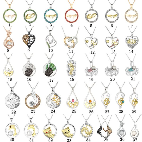 37 designs Fashion Bicolor Necklaces Love Heart MOM Hand in hand dolphin Mermaid crystal Pearl Pendant Silver chains For women Jewelry Bulk