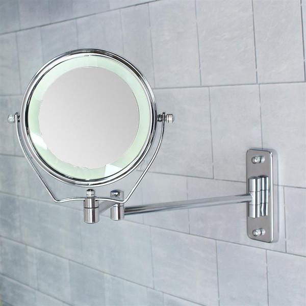 6 pulgadas de doble cara 6 luz led iluminada 7x espejos de aumento Espejos de baño Ducha de baño espejo cosmético montado en la pared