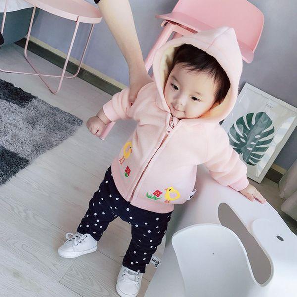 Newborn Rabbit Ear Coat Winter Clothes for Baby Girl Thick Warm Hoodie Pink Infant Girls Coats Jacket Bebe Children Tops 2 Years