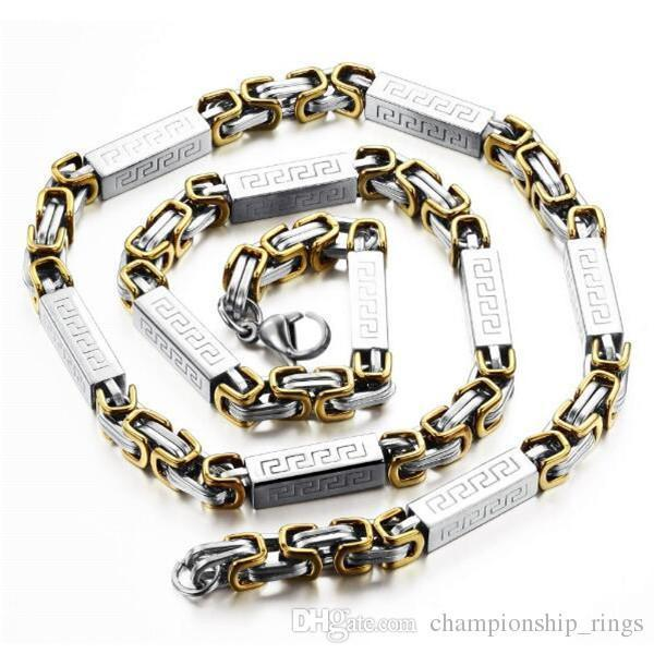 JewelryStore999 Fashion Men Punk Style Chain Necklaces Personalized Silver/Gold Plated Stainless Steel Link Chain Jewelry Gift For Man GX329