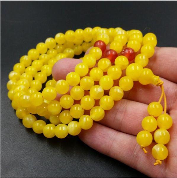 Braccialetto o collana di perle di cera d'api gialla tibetana 8mm 4 cerchi avvolgenti per uomo donna 108 gioielli con mala a filo Strand