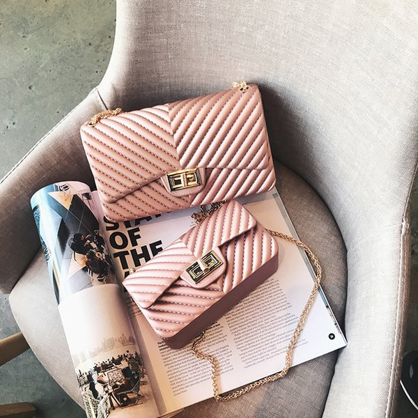 Summer Silica Gel Female Mini Chain Jelly Bag Women Diamond Lattice Small Flap Bag Girl Casual Clutch Silicone Bag Shoulder Bags